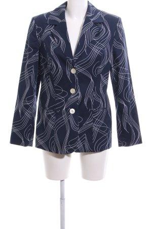 Alba Moda Jersey Blazer azul-blanco estampado repetido sobre toda la superficie