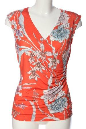 Alba Moda Bluzka z krótkim rękawem czerwony-jasnoszary Wzór w kwiaty