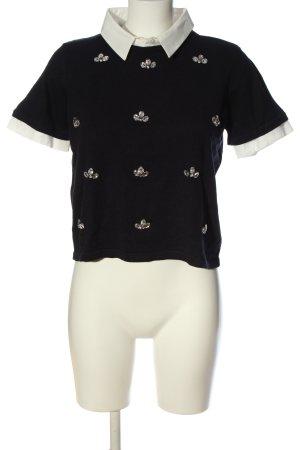 Alba Moda Kurzarm-Bluse schwarz-weiß grafisches Muster Elegant