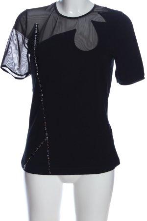 Alba Moda Blusa de manga corta negro estilo extravagante