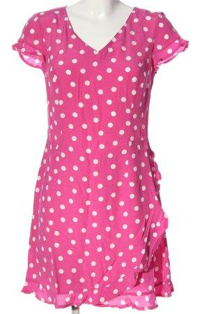 Alba Moda Kurzarmkleid pink-weiß Punktemuster Casual-Look