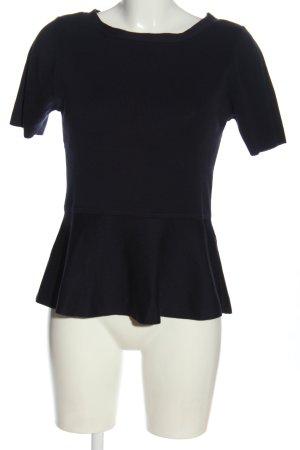 Alba Moda Short Sleeve Sweater black cable stitch casual look