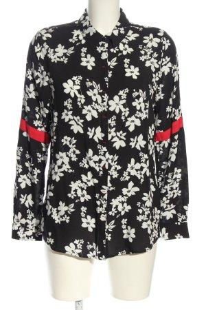 Alba Moda Langarm-Bluse schwarz-weiß Allover-Druck Casual-Look