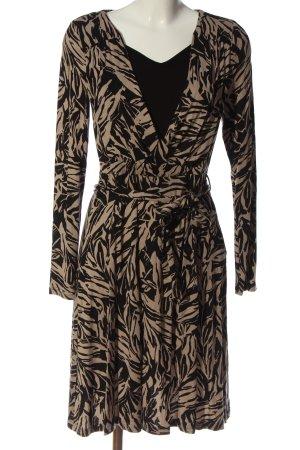Alba Moda Abito a maniche lunghe nero-crema motivo astratto stile casual