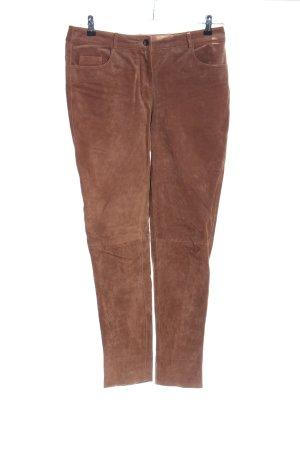 Alba Moda Pantalon en cuir brun style décontracté
