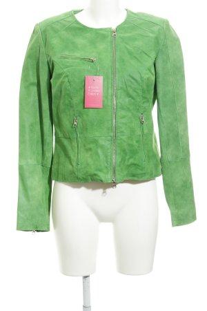 Alba Moda Lederjacke grasgrün Biker-Look