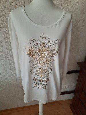 Alba Moda Top à manches longues blanc-doré coton