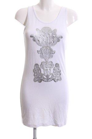 Alba Moda Lange top wit-zilver Patroon-mengeling casual uitstraling