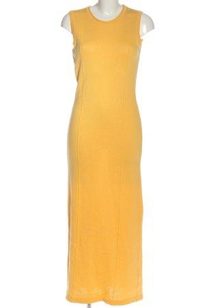 Alba Moda Maxi abito giallo pallido punto treccia stile casual