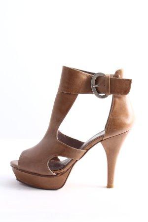 Alba Moda Tacones con punta abierta marrón look casual