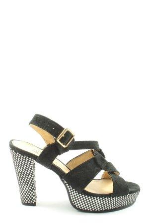 Alba Moda Sandały na grubym obcasie czarny-biały Wzór w kratkę