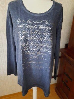Alba Moda T-shirt imprimé bleu coton