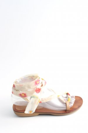 Alba Moda Riemchen-Sandalen wollweiß-rot Blumenmuster Casual-Look