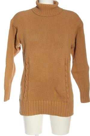 Alba Moda Maglione dolcevita arancione chiaro punto treccia stile casual