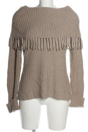 Alba Moda Pull tricoté brun torsades style décontracté