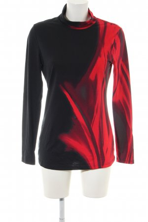 Alba Moda Camisa de cuello de tortuga rojo-negro estampado con diseño abstracto
