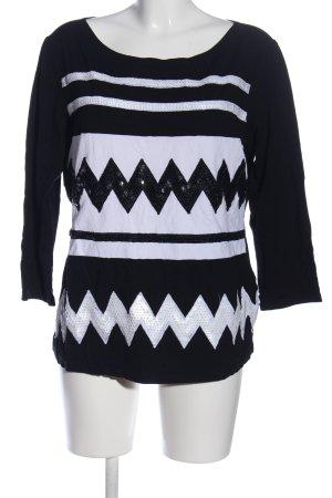 Alba Moda Schlupf-Bluse schwarz-weiß grafisches Muster Casual-Look