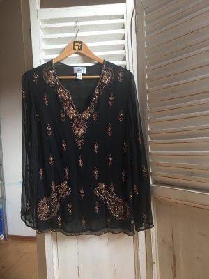 Alba Moda Seidentunika Bluse schwarz  mit Stickereien und Pailletten Gr 38