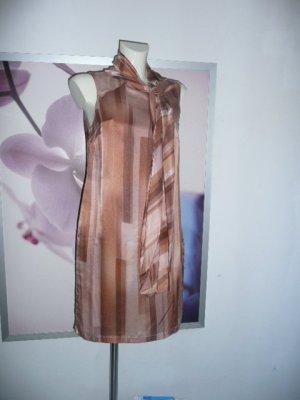 Alba Moda Shiftkleid Dress m langer Schluppe Seide+BW mit Grafik Print beige braun