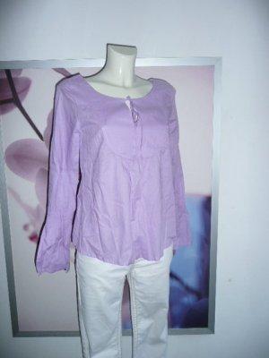 Alba Moda Sommer Tunika Bluse m V-Neck u Bindeband Lavendel 34-36
