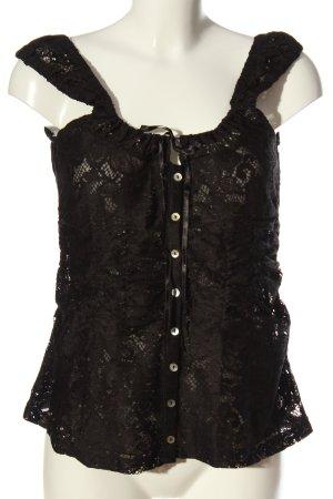 Alba Moda Kanten blouse zwart Webpatroon casual uitstraling