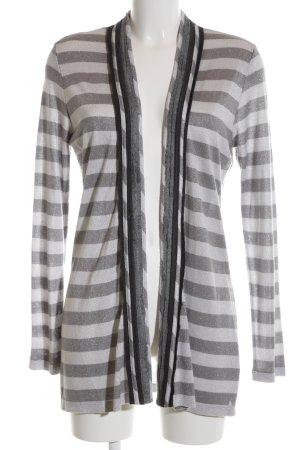 Alba Moda Strick Cardigan silberfarben-weiß Streifenmuster Casual-Look