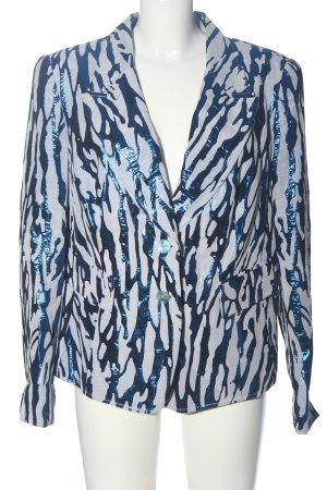 Alba Moda Gebreide blazer blauw-lichtgrijs abstract patroon casual uitstraling