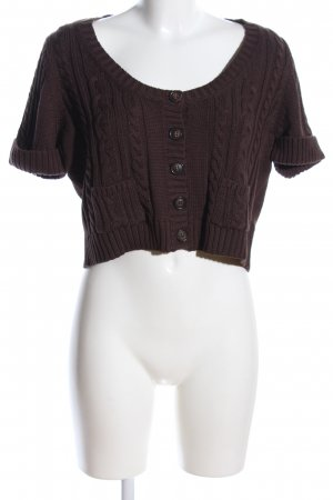 Alba Moda Cardigan brown cable stitch casual look