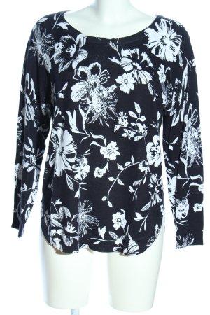 Alba Moda Pull tricoté noir-blanc motif de fleur style décontracté