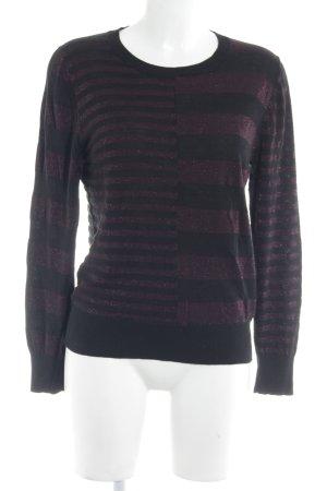 Alba Moda Strickpullover schwarz-purpur Streifenmuster Casual-Look