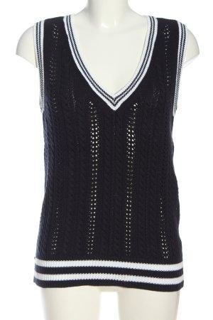 Alba Moda Smanicato lavorato a maglia nero-bianco punto treccia stile casual
