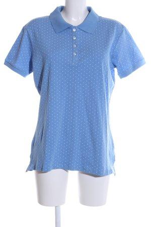 Alba Moda T-shirt blauw-wit gestippeld patroon casual uitstraling