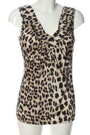 Alba Moda Top na ramiączkach w kolorze białej wełny-czarny Wzór w lwa