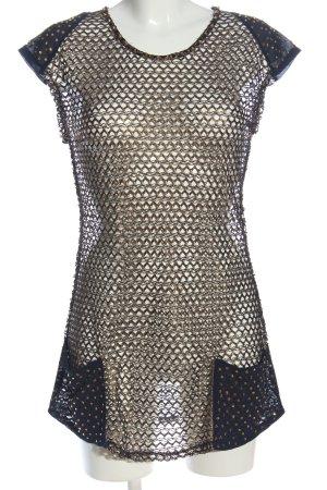 Alba Moda Blusa transparente negro-color oro Patrón de tejido elegante