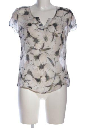 Alba Moda Transparenz-Bluse wollweiß-khaki Blumenmuster Business-Look