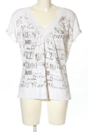 Alba Moda Camisa con cuello V blanco letras impresas look casual