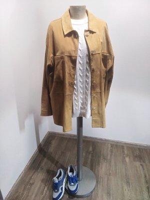 Alba Moda Skórzana koszula piaskowy brąz-brązowy Skóra
