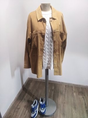 Alba Moda Vintage Oversized Hemdjacke Leder braun senf Gr. 42
