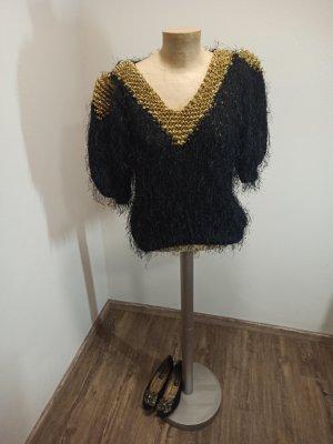 Alba Moda Sweter z dzianiny czarny-złoto