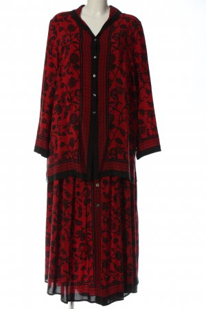 Alba Moda Web Twin Set schwarz-rot Blumenmuster Casual-Look