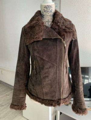 Alba Moda Veste en cuir brun noir-brun foncé