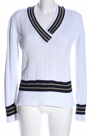 Alba Moda Warkoczowy sweter Wzór w paski W stylu biznesowym