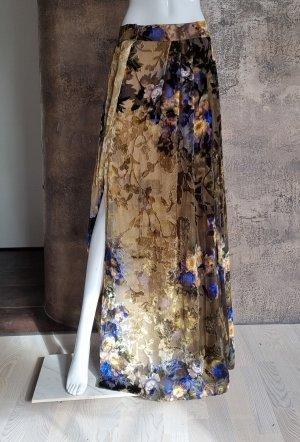 Alberta Ferretti Jupe en soie marron clair-bleu soie