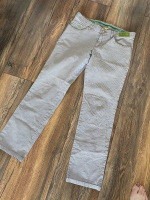 Alberto Spodnie z imitacji skóry jasnoszary-zielony neonowy Bawełna