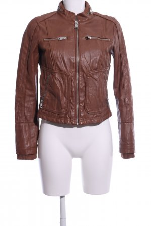 Alcott Faux Leather Jacket brown quilting pattern casual look