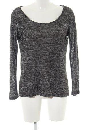 Alcott Kraagloze sweater zwart-lichtgrijs gestippeld casual uitstraling