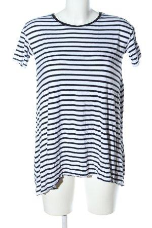 Alcott T-shirt blanc-noir motif rayé style décontracté