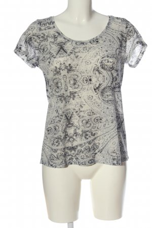 Alcott T-shirt wolwit-zwart abstract patroon casual uitstraling