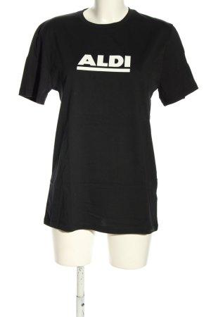 Aldi T-Shirt schwarz-weiß Schriftzug gedruckt Casual-Look