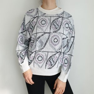Aldo Colitti 50 weiß Oversize Pullover Hoodie Pulli Sweater Top Oberteil Muster True Vintage